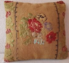 16X16'' French Decor Needlepoint Tapestry Aubusson Woven Kilim Rug Pillow Cover