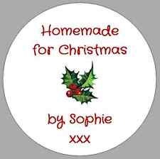24 x CIRCULAR ROUND CHRISTMAS HOMEMADE STICKERS GIFT LABELS PERSONALISED HOLLY