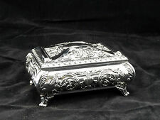 Medium Rectangular Silver Color Jewellery Trinket Treasure Chest / Music Box
