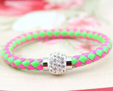 Green and Pink Leather Bracelet with Rhinestone Buckle