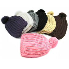 New Women Knit Cap Braided Baggy Knit Beret Crochet Beanie Ball Wool Ski Hat