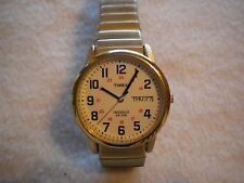 TIMEX MAN'S EASY READER  INDIGLO....J6 ....day/date....WR 30m....gold FLEX BAND