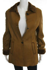 Barneys New York Brown Shearling Lined Leather Jacket Size