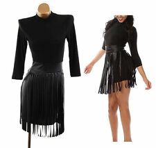 Plus Black Faux Leather Shredded Fringe Skirt Bodycon Mini Dress 2X