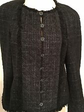 Chanel Authentic Gray Ladies Jacket CC Rhinestone Buttons Size 40