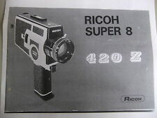 Instructions cine movie camera RICOH 420 8 super 8  - CD/Email