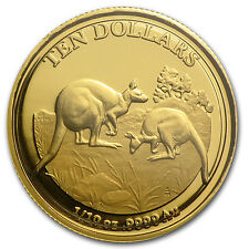 2014 Royal Australian Mint 1/10 oz Proof Gold Kangaroo Coin - SKU #78395