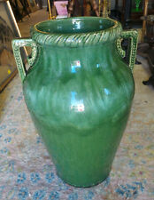 VINTAGE GREEN ROBINSON RANSBOTTOM TALL VASE WITH HANDLES 18.5""