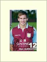 MARC ALBRIGHTON ASTON VILLA HAND SIGNED AUTOGRAPH PHOTO 10X8 MOUNTED & COA