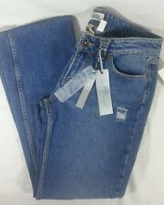 YMI Women Dungaree Blue Jeans Size 11 Boot Leg Distressed Detail Top Stitching