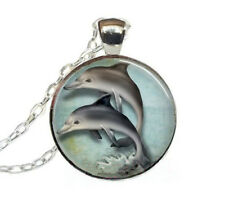 Vintage Dolphin Cabochon Tibetan silver Glass Chain Pendant Necklace jewelry #41