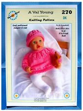 """DOLLS KNITTING PATTERN  for  Anabell  No 270 by Val young17""""-19"""" doll"""