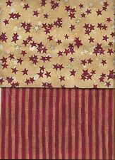 PEACEFUL JOURNEY STARS ON GOLD & DK RED GOLD COORDINATING STRIPE COTTON FABRIC