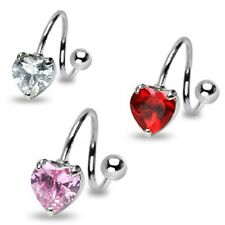 3 lot HEART Solid Gem TWIST BELLY Button NAVEL RINGS Body Piercing Jewelry