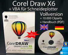 Corel Draw X6 Vollversion Box + DVD + VBA für Schneideplotter, Cliparts uvm. NEU