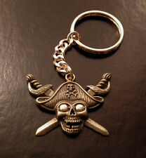 Hand Crafted Skull & Swords key ring key chain Biker Goth Pirate Fishing BN LGW