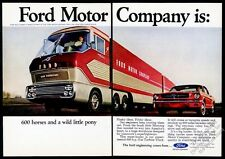 1965 Ford Mustang red hardtop car & Gas Turbine semi truck vintage print ad