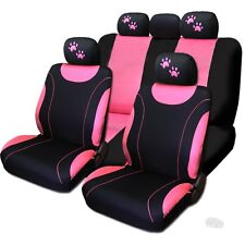 New Front & Rear Black & Pink Polyester Seat Covers Pink Paws Set For Jeep