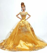 Eaki Silkstone Barbie Fashion Royalty Evening Lace Golden Dress Outfit Gown FR