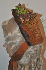 ANTIQUE HAT 1860's WOMAN'S LACE COVERED BONNET MILLINARY FLOWERS CAULEY & CO.