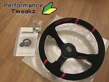 NEW JDM MUGEN 350MM SUEDE DEEP DISH RACING SPORT STEERING WHEEL HONDA EP3 DC5 UK