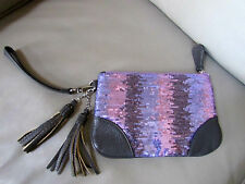 DEUX LUX PINK/PURPLE SEQUIN/BLING CLUTCH FRINGED COSMETIC BAG HANDBAG-NWOT