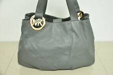 Michael Kors Fulton Gray Leather Shoulder Bag