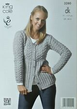 KNITTING PATTERN Ladies Long Sleeve Round Neck Long Lacy Cardigan King Cole 3280