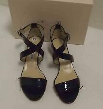 JIMMY CHOO NAVY PATENT LEATHER LOW WEDGE SANDAL SIZE 39.5 US 9
