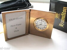 HAMILTON WATCH CO, SMALL BRASS PHOTO FRAME DESK CLOCK, GIFT BOXED w/VELVET POUCH