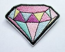White Silver Diamond Iron on Sew on Embroidered Patch Badge Motif  For Clothing