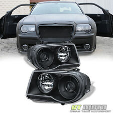 2005-2010 Chrysler 300C Replacement Black Projector Headlights Headlamps Set L+R