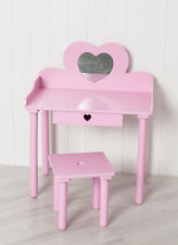 Childrens Dressing Table & Chair Set with Pink and Hearts Girls Kids Dress Make