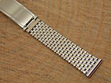Vintage Quality Kreisler white gold filled riveted watch band 14mm 1940s Heavy