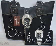 Western Rustic Couture's Black Silver Rhinestone Tote Purse & Matching Wallet
