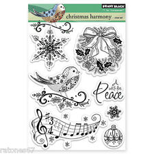 New Penny Black CHRISTMAS HARMONY Clear Stamp Wreath Holiday Bird Music Peace
