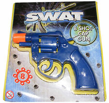 SMALL BLUE PLASTIC SWAT 8 SHOT TOY CAP GUN PISTOL REVOLVER - NEW
