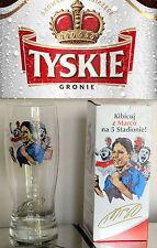 TYSKIE BEER Poland 5th STADIUM 50cl Beer Glass MARCO VAN BASTEN Holland