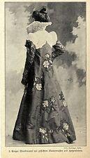 Historische Mode der Kaiserzeit Langer Abendmantel mit Spitzenbolero von 1900