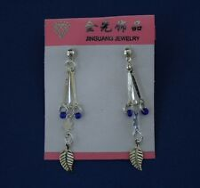 Dangle Fashion Earrings Leaf Star And Blue Beads New US Seller Free USA Shipping