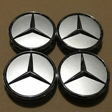 NEW MERCEDES-BENZ (SET OF 4) 75mm SILVER WHEEL CENTER CAPS WC4PC500 MB1