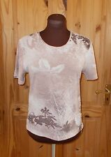 TIGI oatmeal beige brown stretch floral chiffon short sleeve tunic top 10-12 38