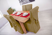 Set of 4 Sand Linen Fabric Dining Chair Covers for Scroll Top High Back Leather