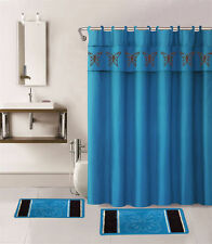15PC AQUA BLUE BUTTERFLIES BATHROOM SET 2BATH MATS 1SHOWER CURTAIN FABRIC HOOKS