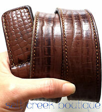 Vintage Brown Leather Croc Embossed Belt with Matching Buckle Mens 36 37