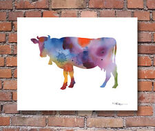 Cow Contemporary Watercolor Abstract Farm Animal Kitchen ART Print by DJR
