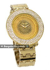 mens gold tone hip hop ice out watch deluxe bracelet leather set diamond master