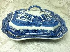 Antique, Allerton, England, Blue Willow,11.5in x16in x6in Covered Bowl or Tureen