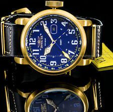 Invicta 52m Aviator Swiss Dual Zone Blue Dial NATTO Leather Military Style Watch
