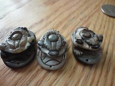 banded agate lucky coin frog carved dzi eye amulet/pendant/charm
